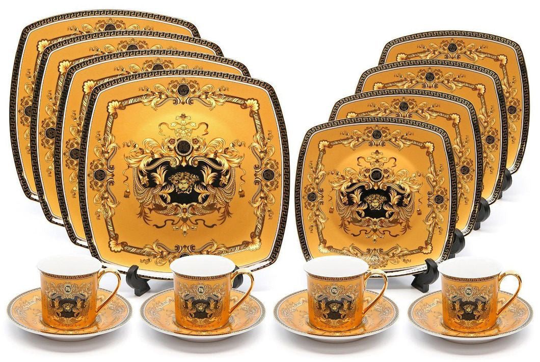 Royalty Porcelain 75-pc Luxury Yellow, Greek Key Dinner Banquet Sushi Set Medusa