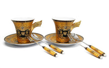 Royalty Porcelain 9-pc Yellow Cake Dessert Set for Tea or Coffee, Luxury Medusa