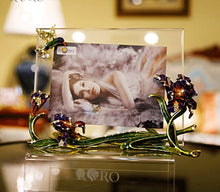 RORO Luxury Enameled 24K Gold Handmade Photo Frame, Bohemian Crystal + Swarovski