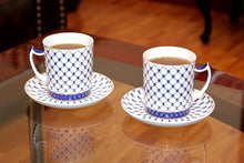 SET of 2 Lomonosov Tea Cups / Mugs, Russian Saint Petersburg Cobalt Blue Net