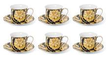 Royalty Porcelain Luxury Tea or Coffee Cup Set, 24K Gold (12 PC, Floral Black)