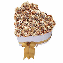 (D) Luxury Long Lasting Roses in a Box, Preserved Flowers 'Big Heart' (Gold)