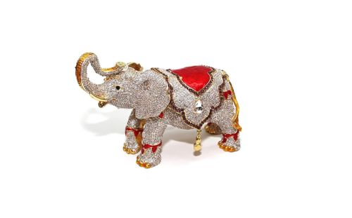 Gold Elephant 8-inch Enameled Figurine, 24K Gold Box with Swarovski Crystal