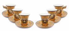 Royalty Porcelain 12-pc Gold Tea Set, Service for 6, Medusa Greek Key, 24K Gold