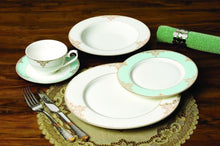 "Royalty Porcelain 20-pc ""Gloria"" Teal Dinner Set, 24K Gold Premium Bone China"
