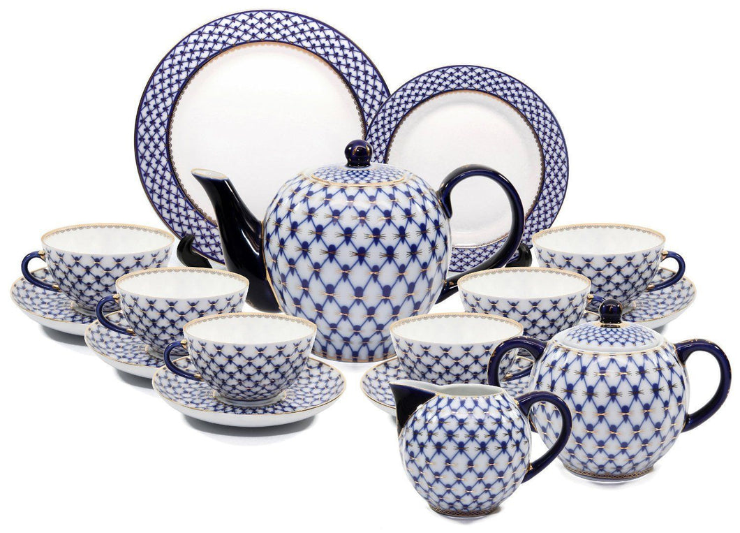 Lomonosov 35pc Large Dining Tea Cup Set Russian Saint Petersburg Cobalt Blue Net