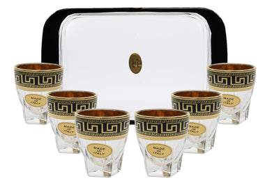 ArtDecor Greek Key, 7-pc 'Camelot' Vodka Shot Glass Set with Tray - 2 Oz Glasses
