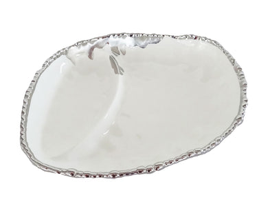 Royalty Porcelain Sectional Bowl for Pasta, Salad, White Dish with Silver Rim