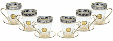 ArtDecor Set of 6 Crystal 8 Oz Turkish Tea Deborah Glasses, 24K Gold Plated