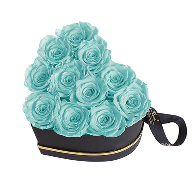 (D) Luxury Long Lasting Roses in a Box, Preserved Flowers Grand Heart (Blue)