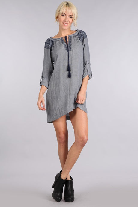 Embroidered tassel dress by Blu Pepper - Front