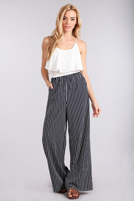 Navy striped jumpsuit by Blu Pepper