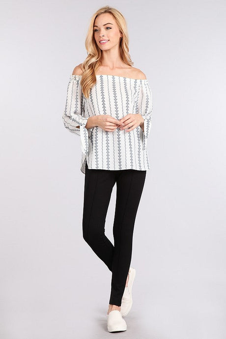 Arrow Striped off the shoulder top by Blu Pepper