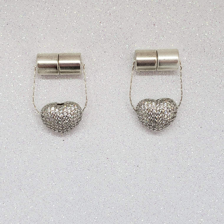 Magentic Nipple Clamps-Pave Crystal Heart