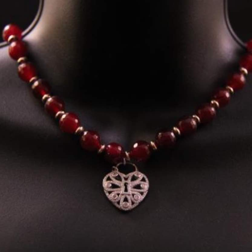 Day Collar: Ruby-Red Cabochon Beads and Sterling Silver Filigree Heart Charm