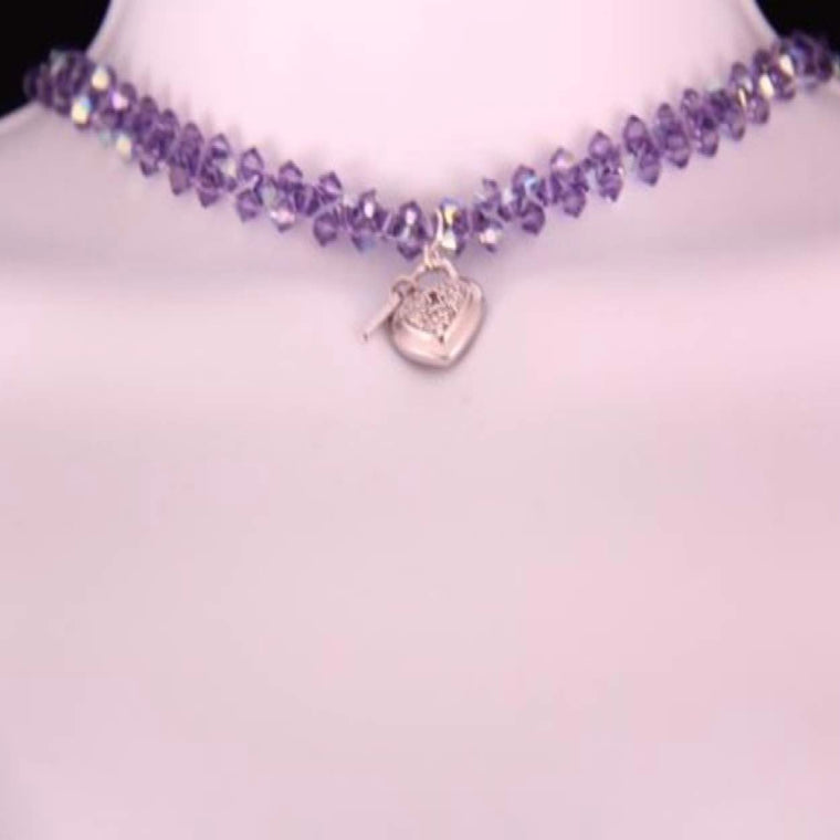 Day Collar: Amethyst-purple Swarovski Crystals with Sterling Silver Heart Locket and Key