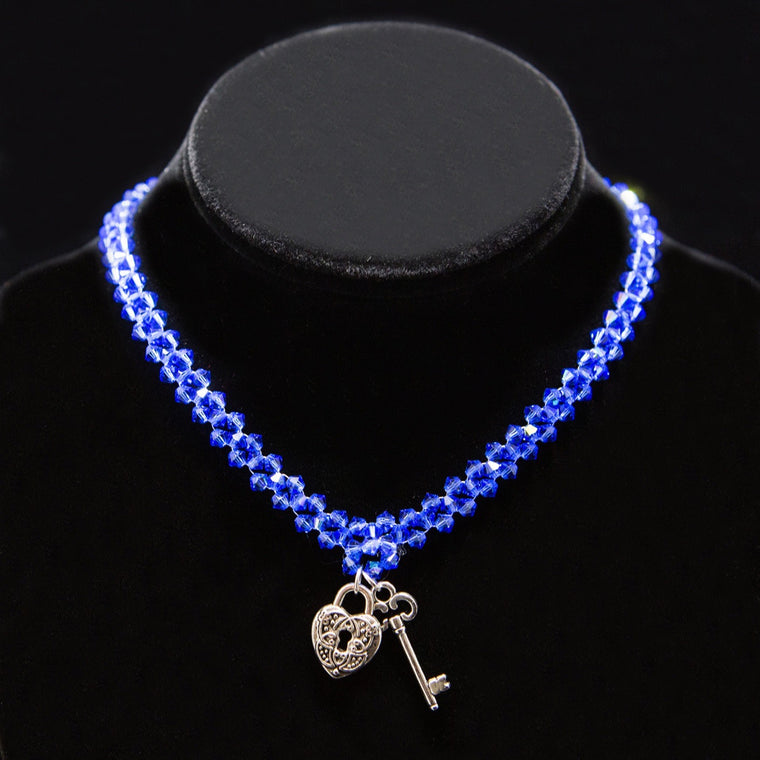 Day Collar: Sapphire-Blue Swarovski Crystal Beads with Sterling Silver Heart Lock and Key