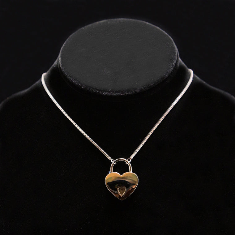 Day Necklace: Gold Box Chain with Polished Gold Heart Lock