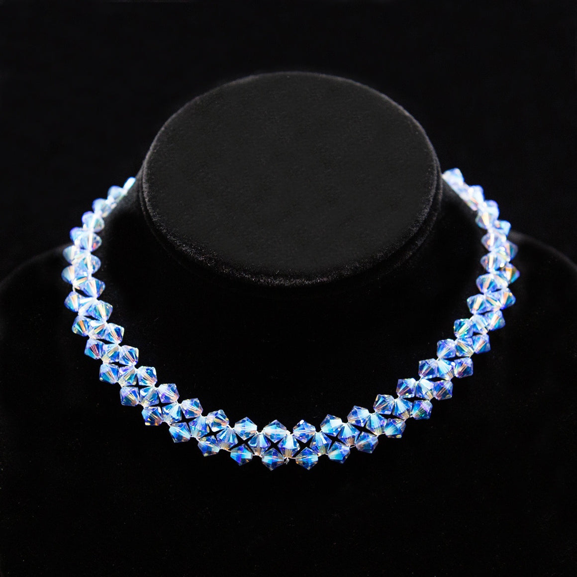 Day Collar: Hand Woven Water-Blue Iridescent Swarovski Crystal Beads