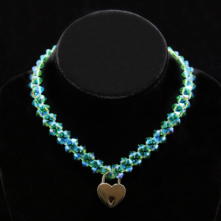 Day Collar: Hand Woven Emerald-Green Swarovski Crystals and Heart Lock