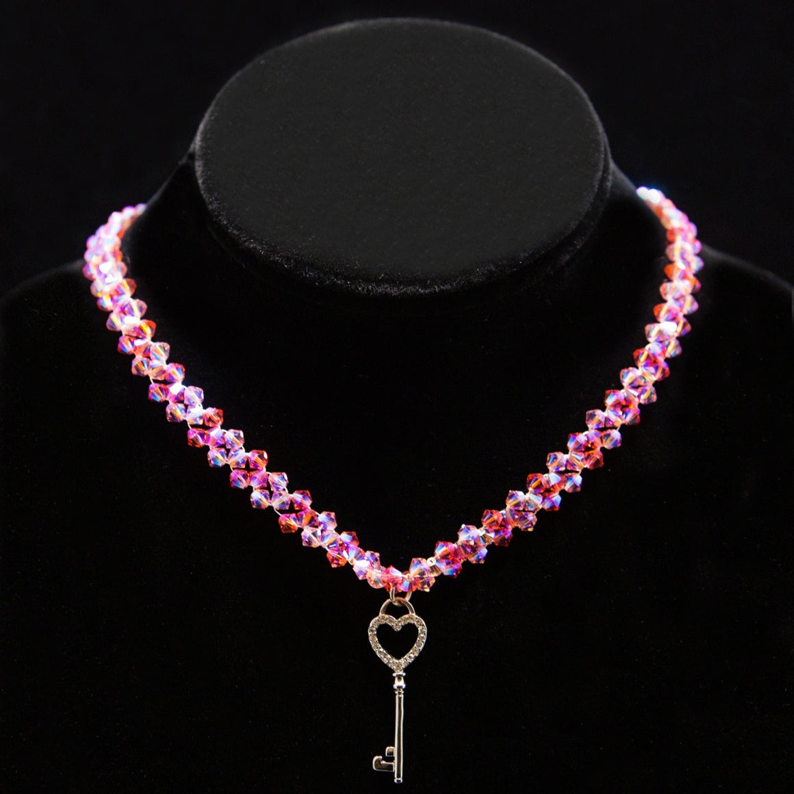 Day Collar: Hand Woven Pink Swarovski Crystals and Sterling Silver Pave Heart Key