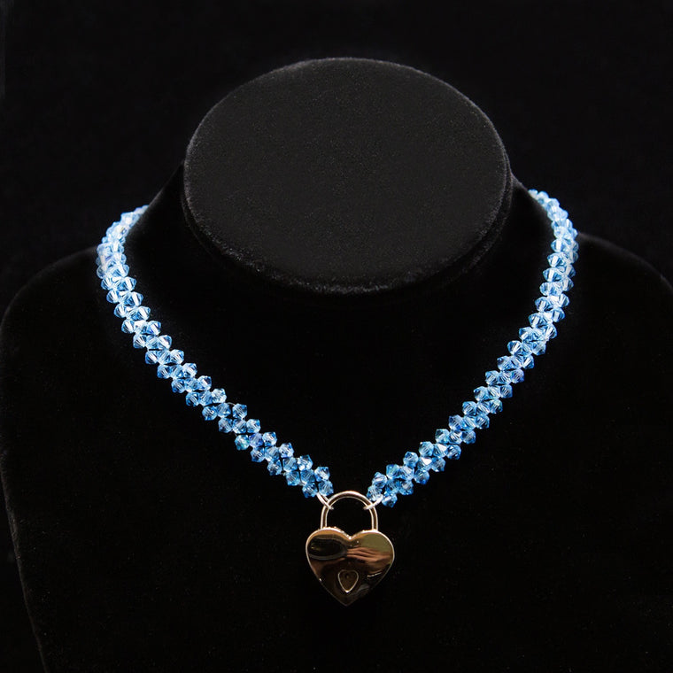 Day Collar: Hand Woven Topaz-Blue Swarovski Crystals and Heart Locket