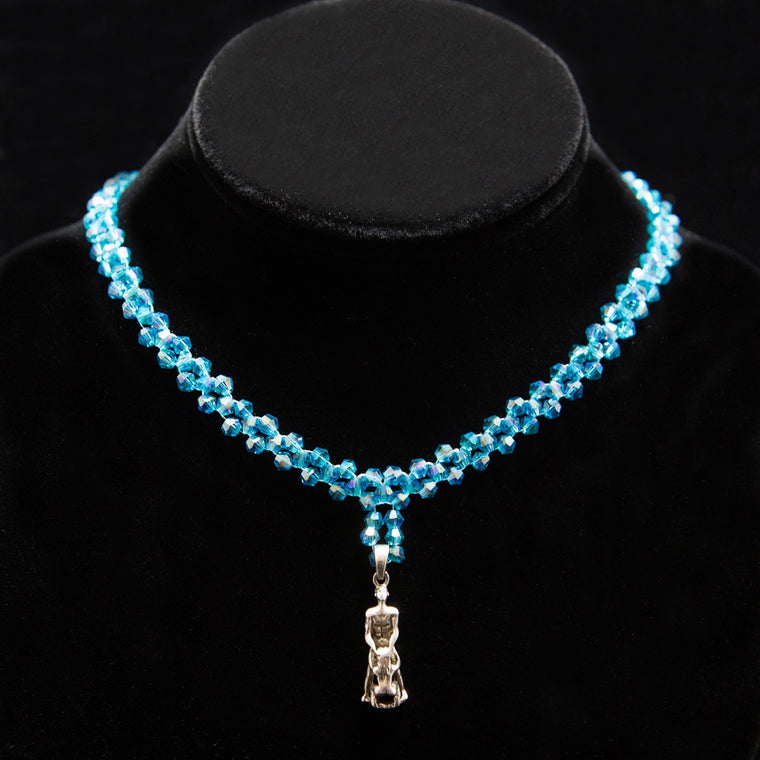 Day Collar: Hand Woven Turquoise-Blue Swarovski Crystals and Sexual Couple Charm