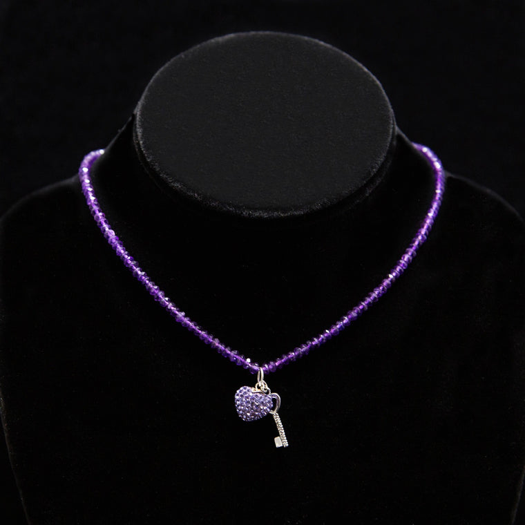 Day Necklace: Amethyst-Purple Beads with Swarovski Crystal Studded Heart Charm and Key