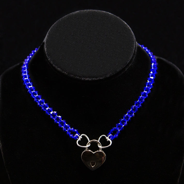 Day Collar: Cobalt-Blue Hand Woven Swarovski Crystal Beads and Heart Charms