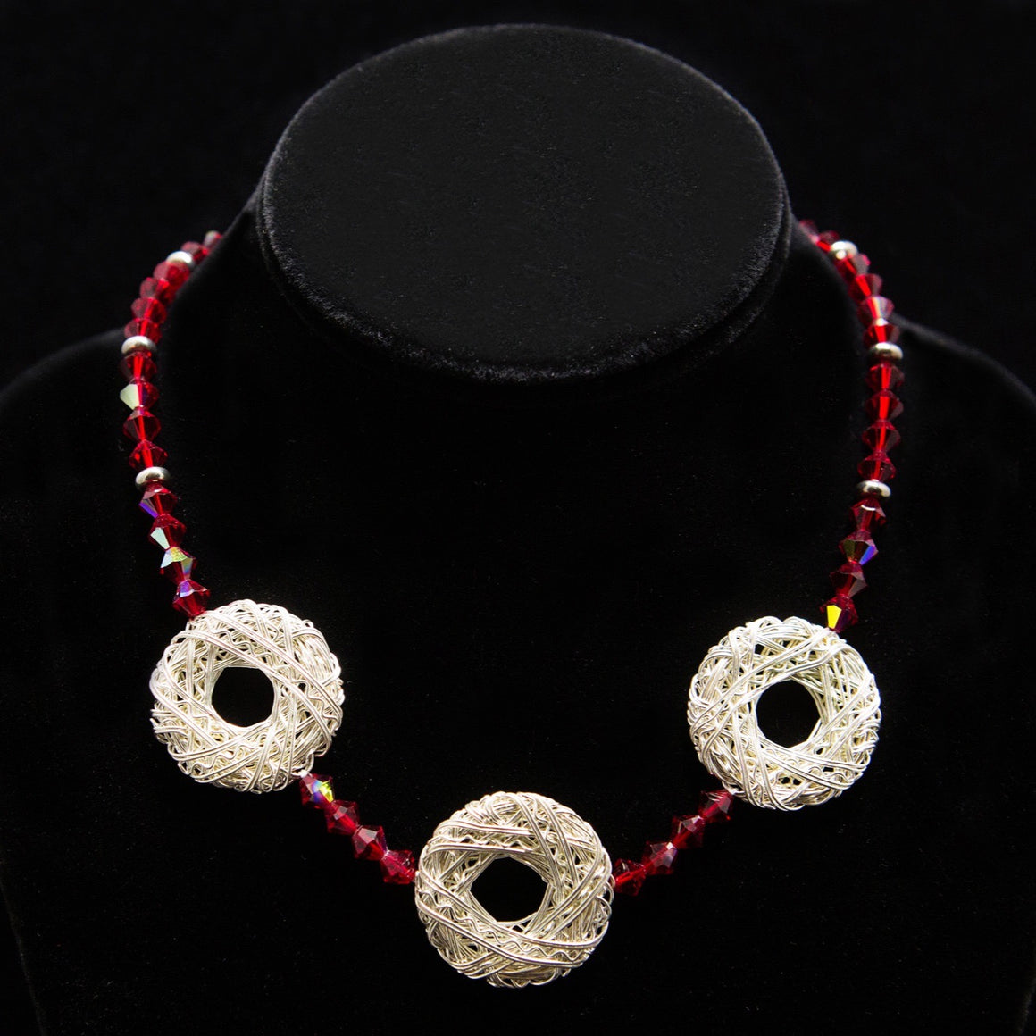 Day Necklace: Swarovski Crystal Siam with Sterling Silver Wound-Ribbon Stationed Circles