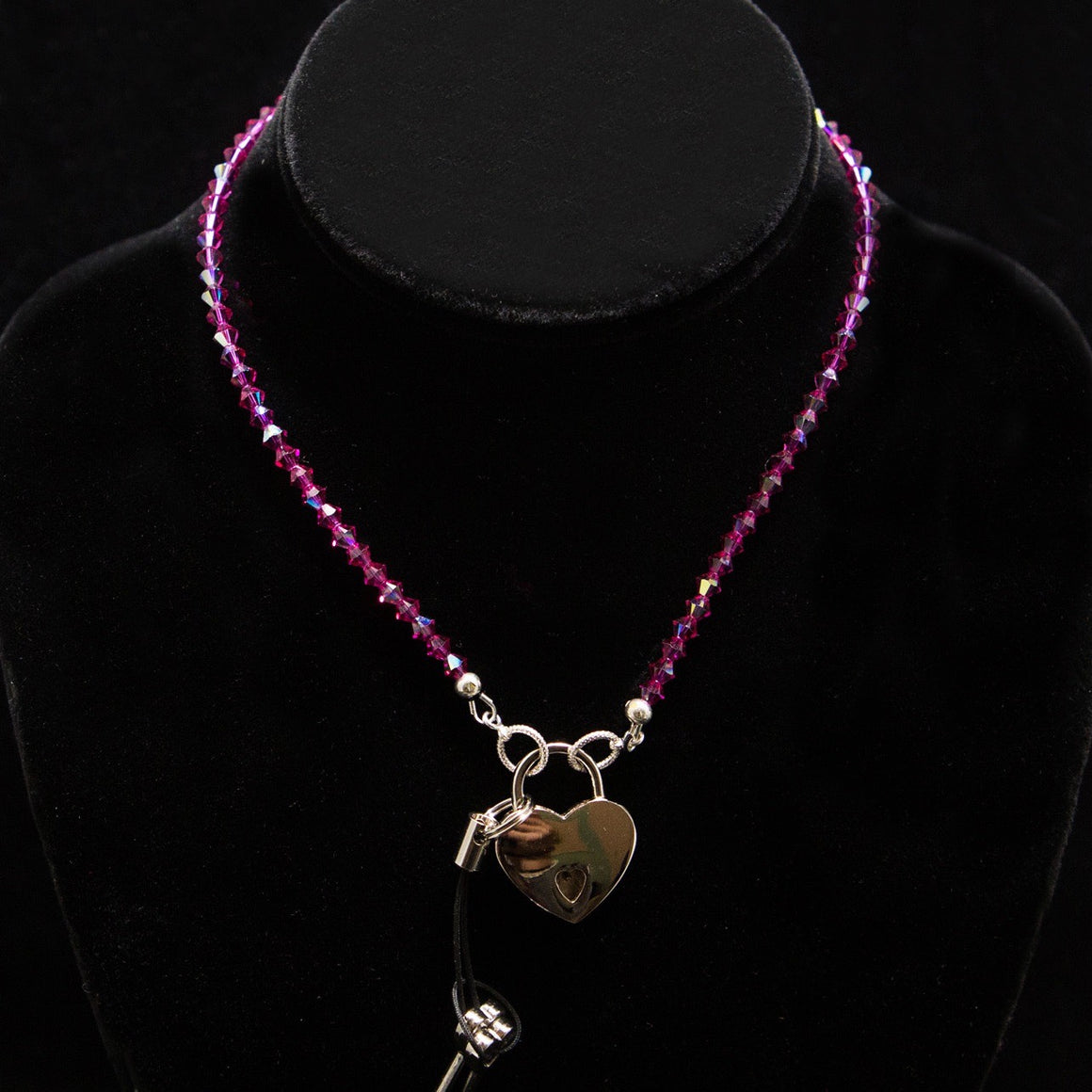 Day Necklace: Swarovski Crystal Magenta Beads with Heart Lock and Key