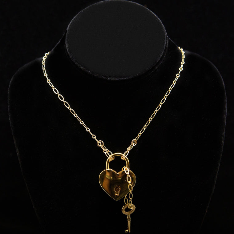 Day Necklace: Oval and Round Gold Link Chain with Heart Lock and Chained Key