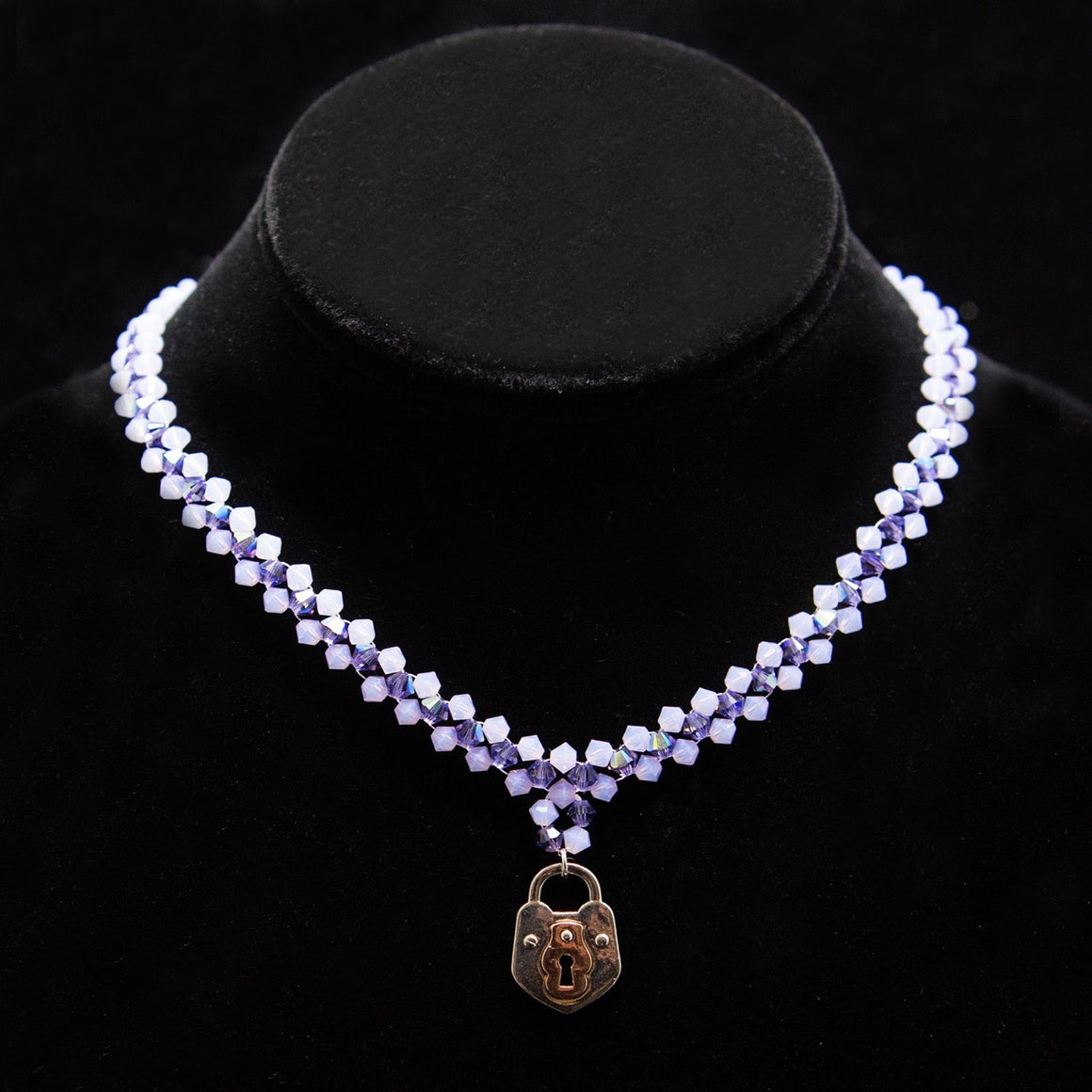 Day Collar: Hand Woven Lavender and Amethyst-Purple Swarovski Crystal Beads with Keyhole Locket
