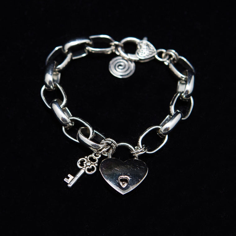 Bracelet: Sterling Silver Large Links with Heart Locket and Key