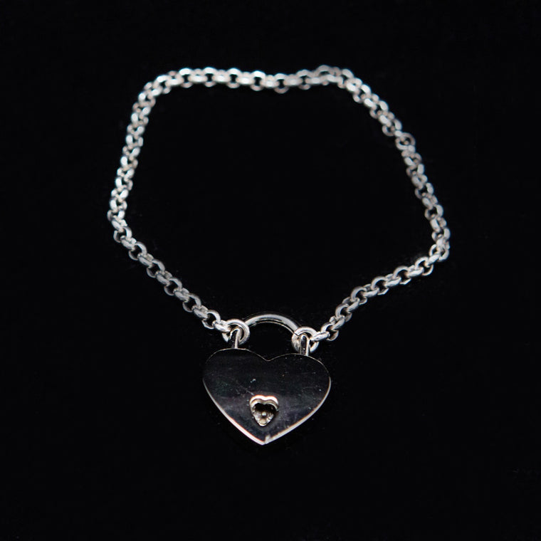 Bracelet: Sterling Silver Chain with Heart Locket