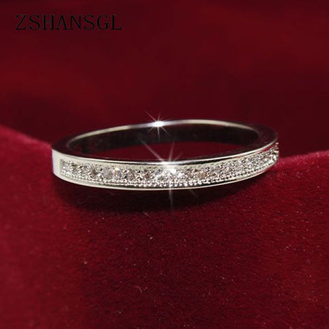 Sterling Silver Rings High Quality Circle Clear Dazzling.