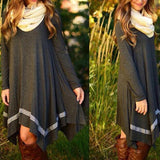 Long Sleeve Evening Grey Party Dress