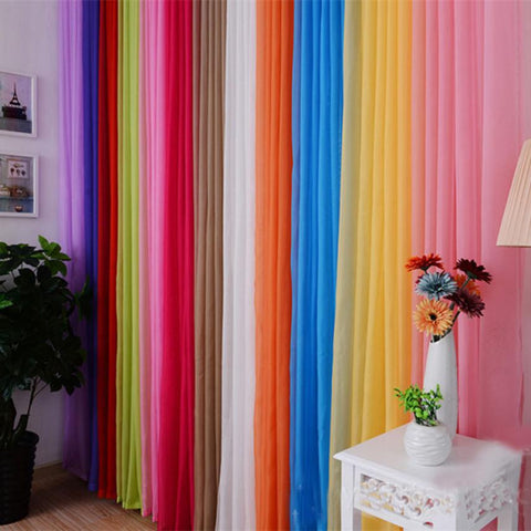 Solid Color 200 x 100 cm Sheer Curtain