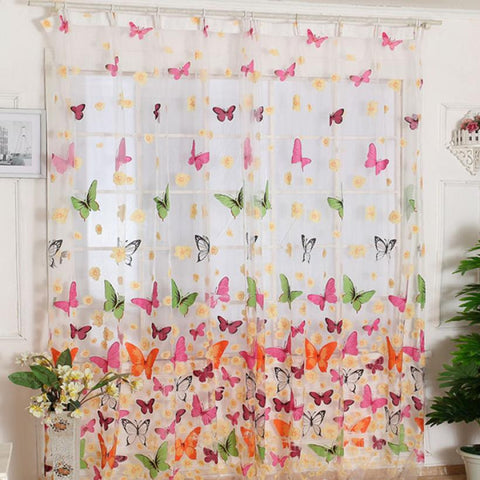 Butterfly Window Curtain Drape Panel Sheer Scarf Valances