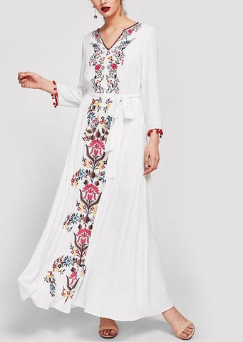 Flower Print Casual White V Neck Maxi Dress