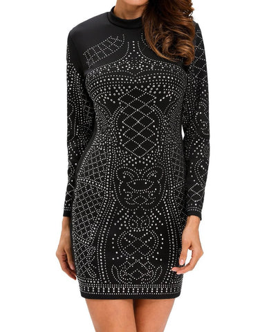 Studded Long Sleeves Dress