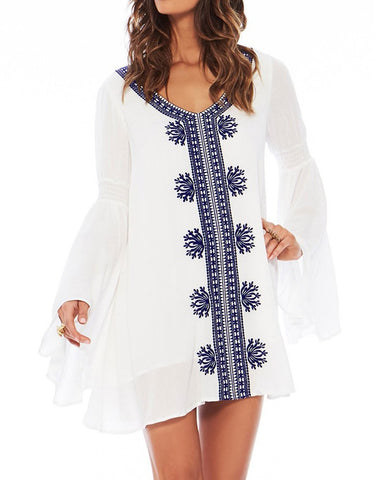 White Bell Sleeve Cover-up