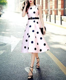 Pink No Belt Polka Dots Day Dress