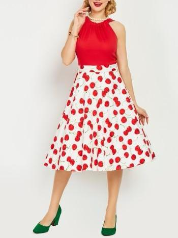 Backless Cherry Printed Day Dress