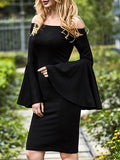Black Bell Long Flare Sleeve Dress