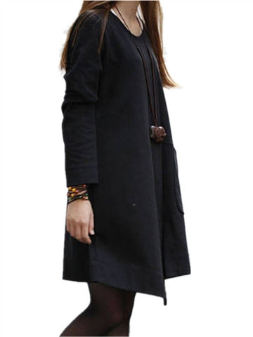 Asymmetric Long Sleeve Pull Over Dress