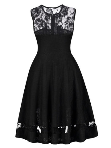 Sleeveless Lace Patchwork Women's Day Dress