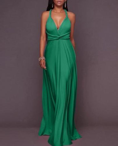 Sleeveless V Neck Formal Maxi Dress