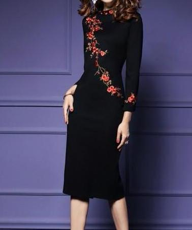 Black Embroidery Sheath Dress