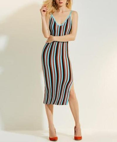 Strip sleeveless Day Dress